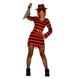 Fato de Freddy Krueger mulher para a noite de Halloween