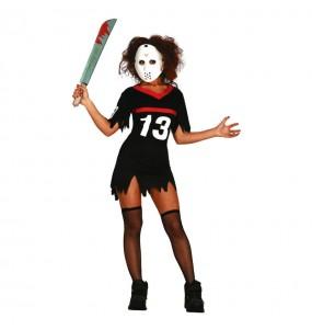 Fato de Jason Sexta-feira 13 mulher para a noite de Halloween