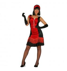 Disfarce original Charleston anos 20 preto e vermelho mulher ao melhor preço