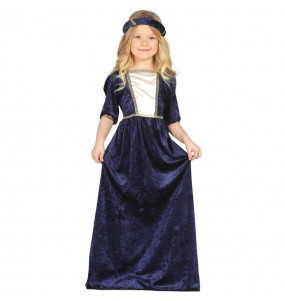 Disfarce Dama medieval azul menina para que eles sejam com quem sempre sonharam