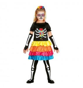 Disfarce Halloween Catrina Mexicana colorida meninas para uma festa Halloween
