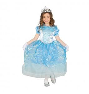 Disfarce Princesa Cinderela Azu menina para que eles sejam com quem sempre sonharam