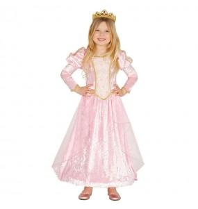 Disfarce princesa rosa de luxo menina para que eles sejam com quem sempre sonharam