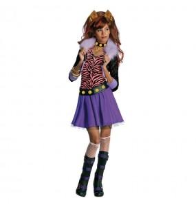 Disfarce Halloween Clawdeen Wolf Monster High meninas para uma festa Halloween