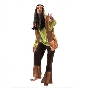 Disfarce Hippie Castanho adulto divertidíssimo para qualquer ocasião