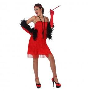 Disfarce original Charleston franja vermelho mulher ao melhor preço