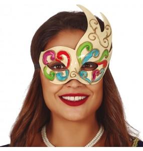 Máscara Veneziana colorida para completar o seu fato Halloween e Carnaval