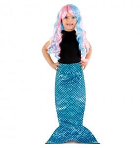 Cauda de sereia azul para meninas