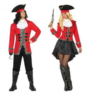 O casal Piratas Capitão Hook original e engraçado para se disfraçar com o seu parceiro