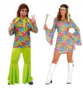 O casal Hippie Flower original e engraçado para se disfraçar com o seu parceiro