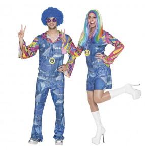 O casal Hippies Jeans original e engraçado para se disfraçar com o seu parceiro