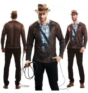 Disfarce Camisola Indiana Jones adulto divertidíssimo para qualquer ocasião