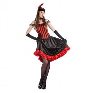 Disfarce original Bailarina Can-can Vermelha mulher ao melhor preço