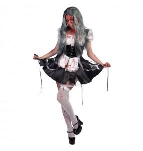Fato de Criada Zombie mulher para a noite de Halloween