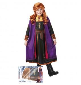 Fato de Anna Frozen com peruca para menina