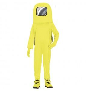 Fato de Astronauta Among us amarelo para menino