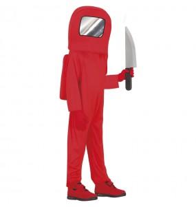 Fato de Astronauta Among us vermelho para menino