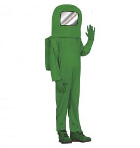 Fato de Astronauta Among us verde para menino