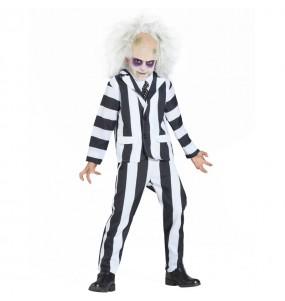 Disfarce Halloween Beetlejuice meninos para uma festa do terror