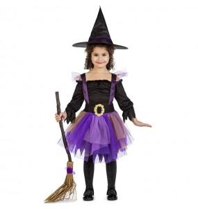 Fato de Bruxa púrpura com tutu para menina