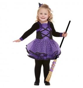 Fato de Bruxa púrpura para bebé