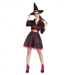 Fato de Bruxa Pin Up mulher para a noite de Halloween