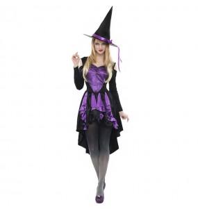 Fato de Bruxa púrpura para mulher
