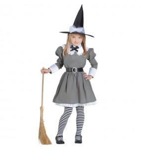 Disfarce Halloween O fato de bruxa Cinzenta infantil para menina inclui: vestido, cinto, meias e chapéu | Este traje Bruxa Cinzenta está disponível em 4 tamanhos diferentes meninas para uma festa Halloween