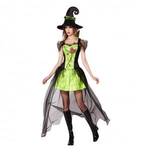Fato de Bruxa verde Halloween mulher para a noite de Halloween