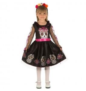 Fato de Crânio Dia dos Mortos para menina