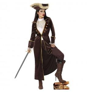 Fato de Capitão pirata marrom para mulher