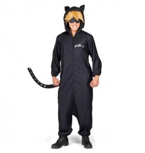 Disfarce japonês Cat Noir Kigurumi adulto divertidíssimo para qualquer ocasião