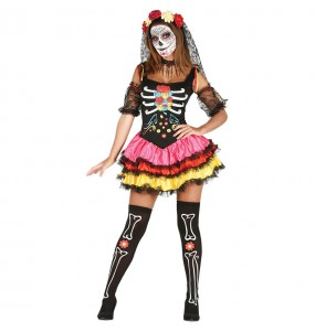 Fato de Catrina Mexicana colorida mulher para a noite de Halloween