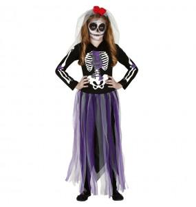 Disfarce Halloween Catrina Mexicana Dia dos Mortos meninas para uma festa Halloween