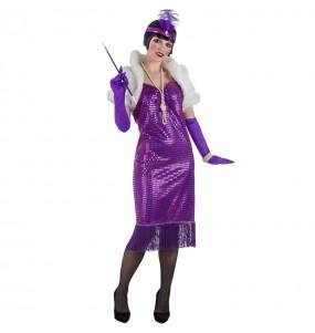 Disfarce original Charleston anos 20 roxo mulher ao melhor preço