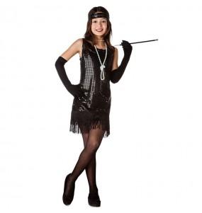 Disfarce Charleston preto com lantejoulas menina para que eles sejam com quem sempre sonharam