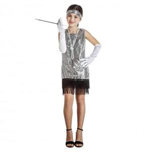 Fato de Charleston Prateado com lantejoulas para menina