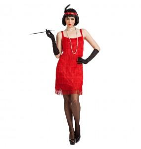 Disfarce original Charleston Vermelho com franjas mulher ao melhor preço