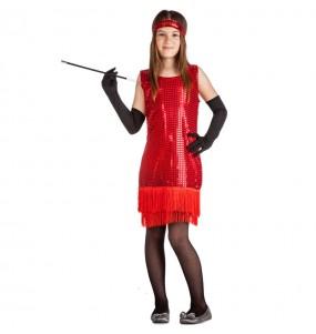 Disfarce Charleston vermelho com lantejoulas menina para que eles sejam com quem sempre sonharam