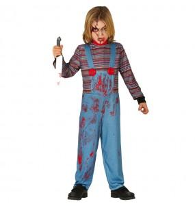 Fato de Chucky o boneco ensanguentado para menino