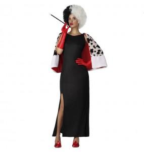 Fato de Cruella DeVil com capa para mulher