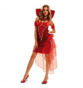 Fato de Diaba elegante mulher para a noite de Halloween