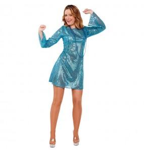 Disfarce original Disco Boogie Tonight azul mulher ao melhor preço