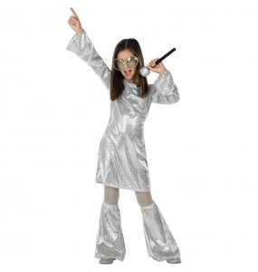 Fato de Disco prata com lantejoulas para menina