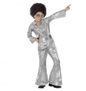 Fato de Disco prata com lantejoulas para menino
