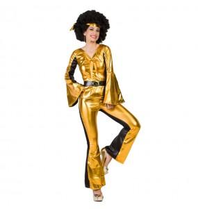 Disfarce original Bailarina Disco Dourada mulher ao melhor preço
