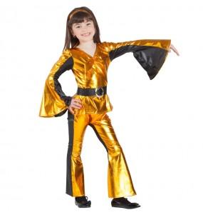 Disfarce Bailarina Disco Dourada menina para que eles sejam com quem sempre sonharam