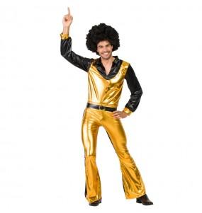 Disfarce Bailarino Disco Dourado adulto divertidíssimo para qualquer ocasião