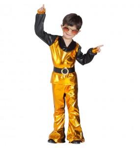 Disfarce Bailarino Disco Dourado menino para deixar voar a sua imaginação
