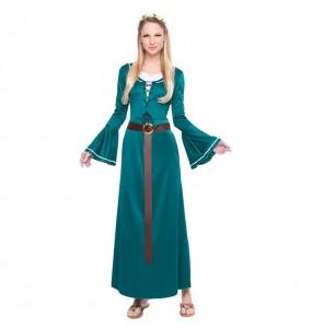 Disfarce original Donzela Medieval Verde mulher ao melhor preço